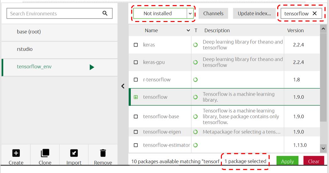 How to install TensorFlow and Keras using Anaconda Navigator