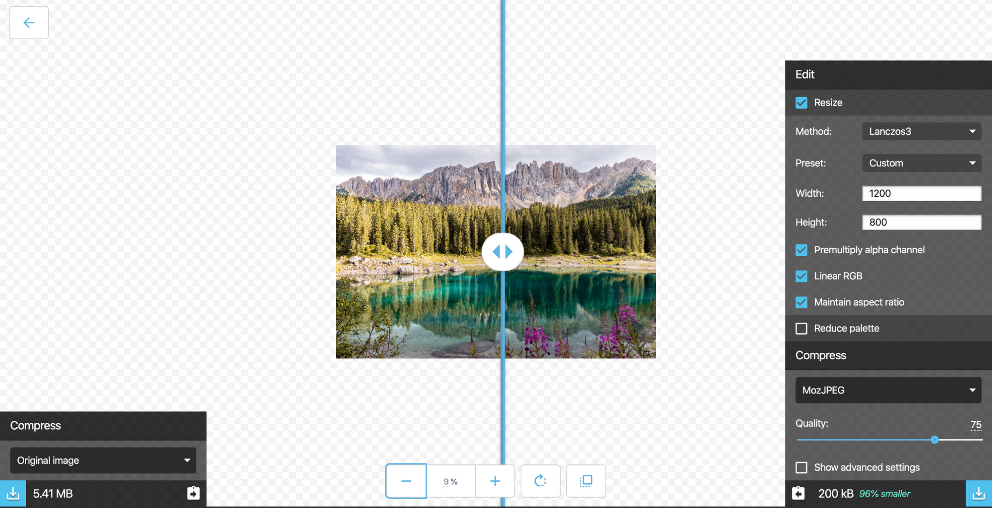 Resize and reduce the quality of a nature image