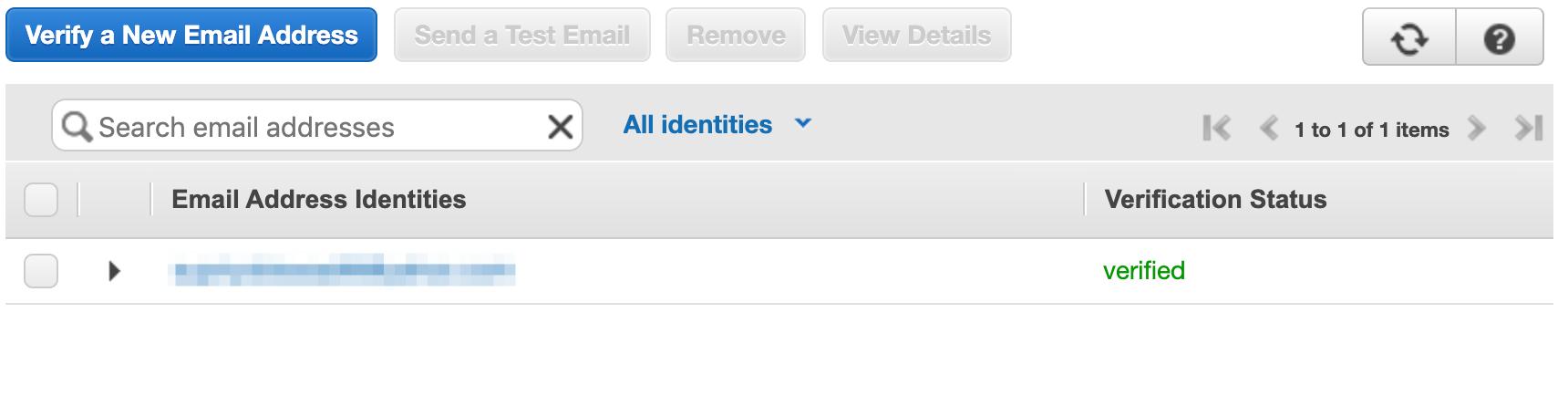 AWS SES verificar endereço de email