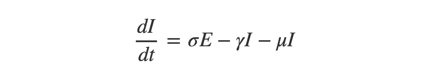 delta I equals sigma times E subtract gamma times I subtract mu times I