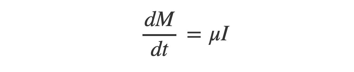 delta M equals mu times I