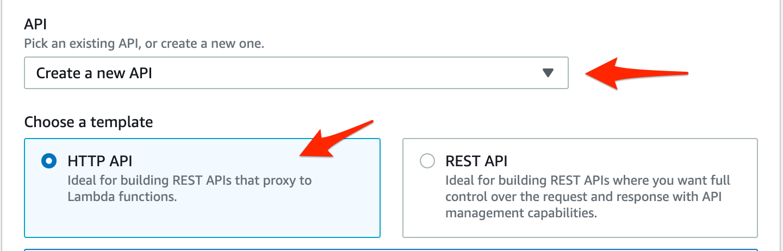 API Gateway create API
