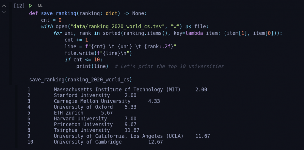 Screenshot of Python script returning the final university ranking