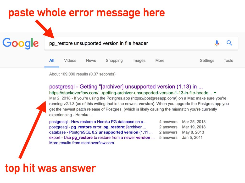 Sometimes pasting the whole error message works