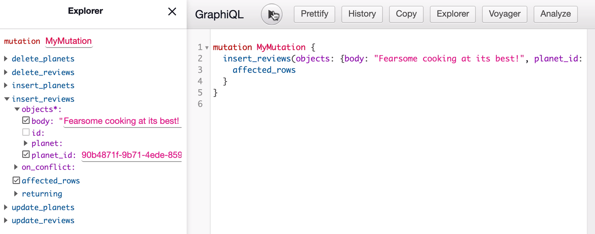 Insert review mutation in GraphiQL