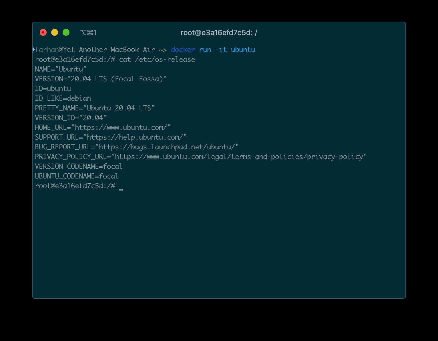 docker run -it ubuntu コマンドからの出力