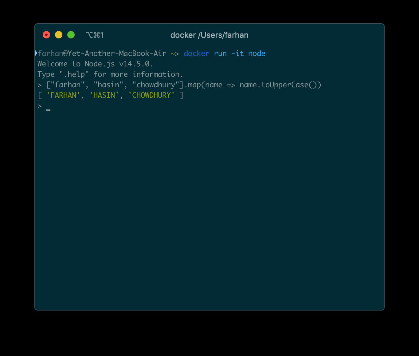 node REPL内でのJavaScriptコードの実行