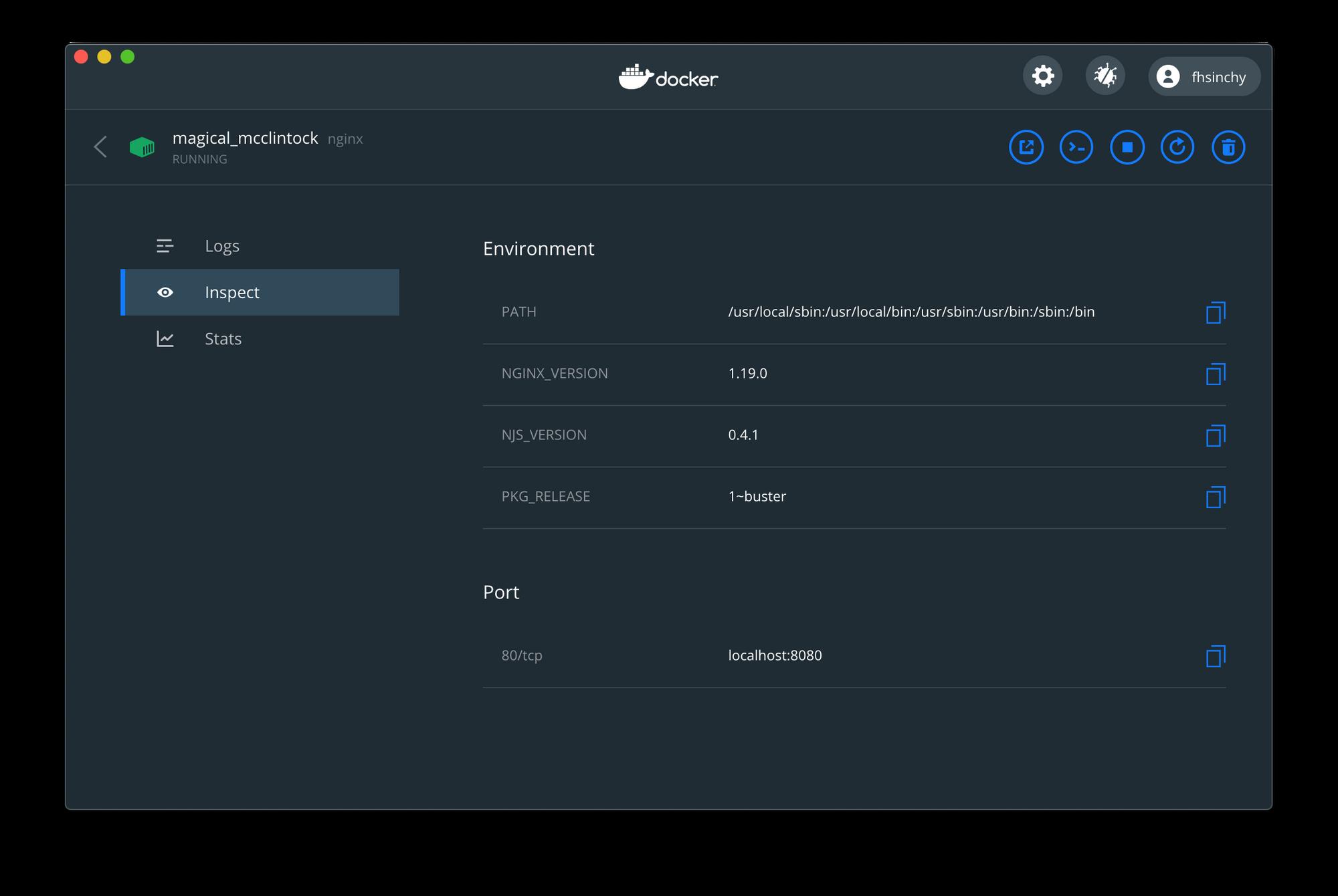 Dockerダッシュボードのポートマッピング