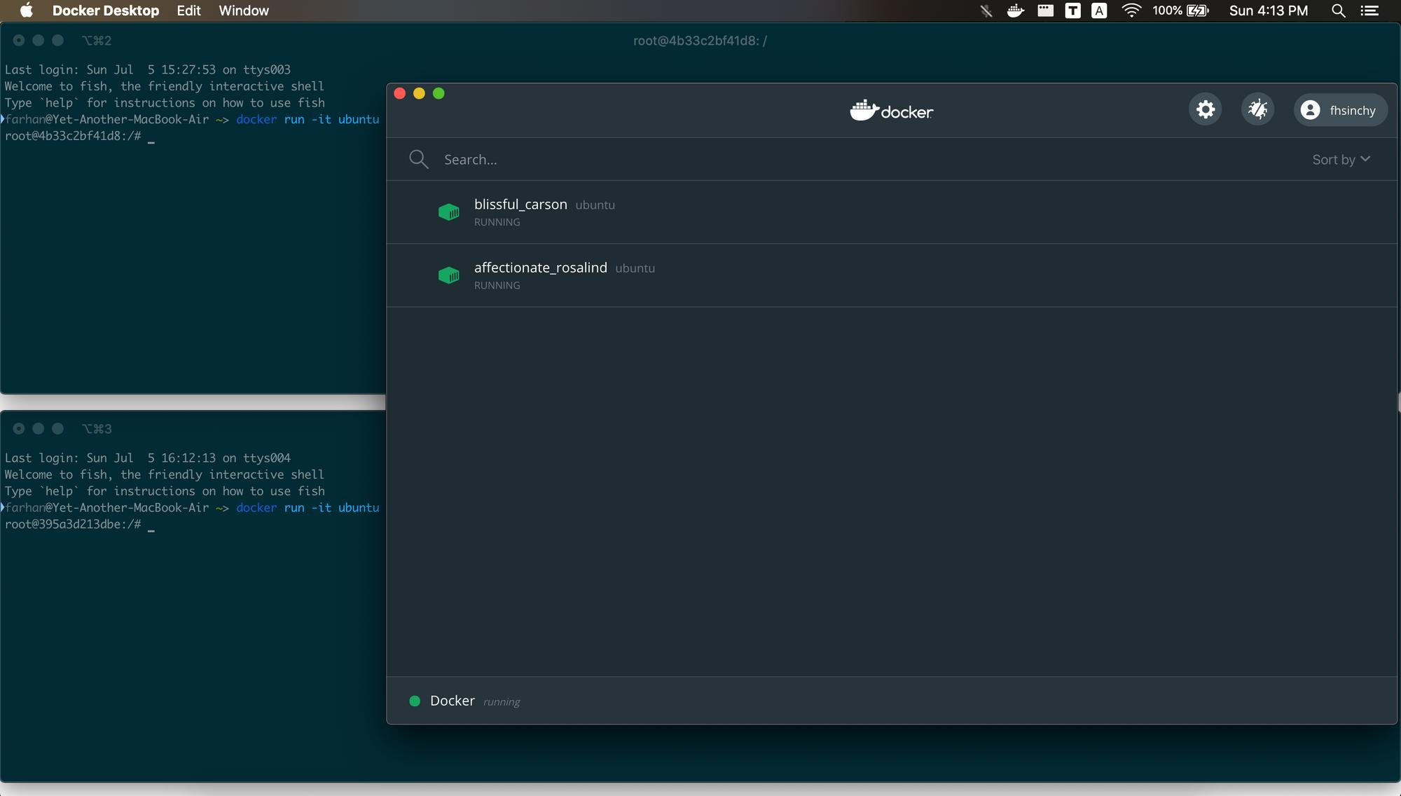 2つのUbuntuコンテナを実行する