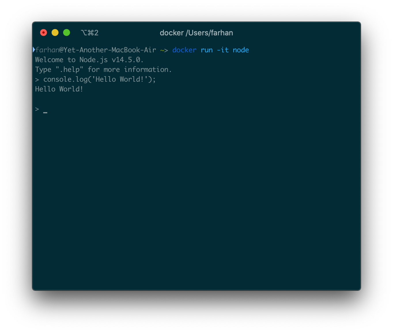 docker run -it node コマンドからの出力