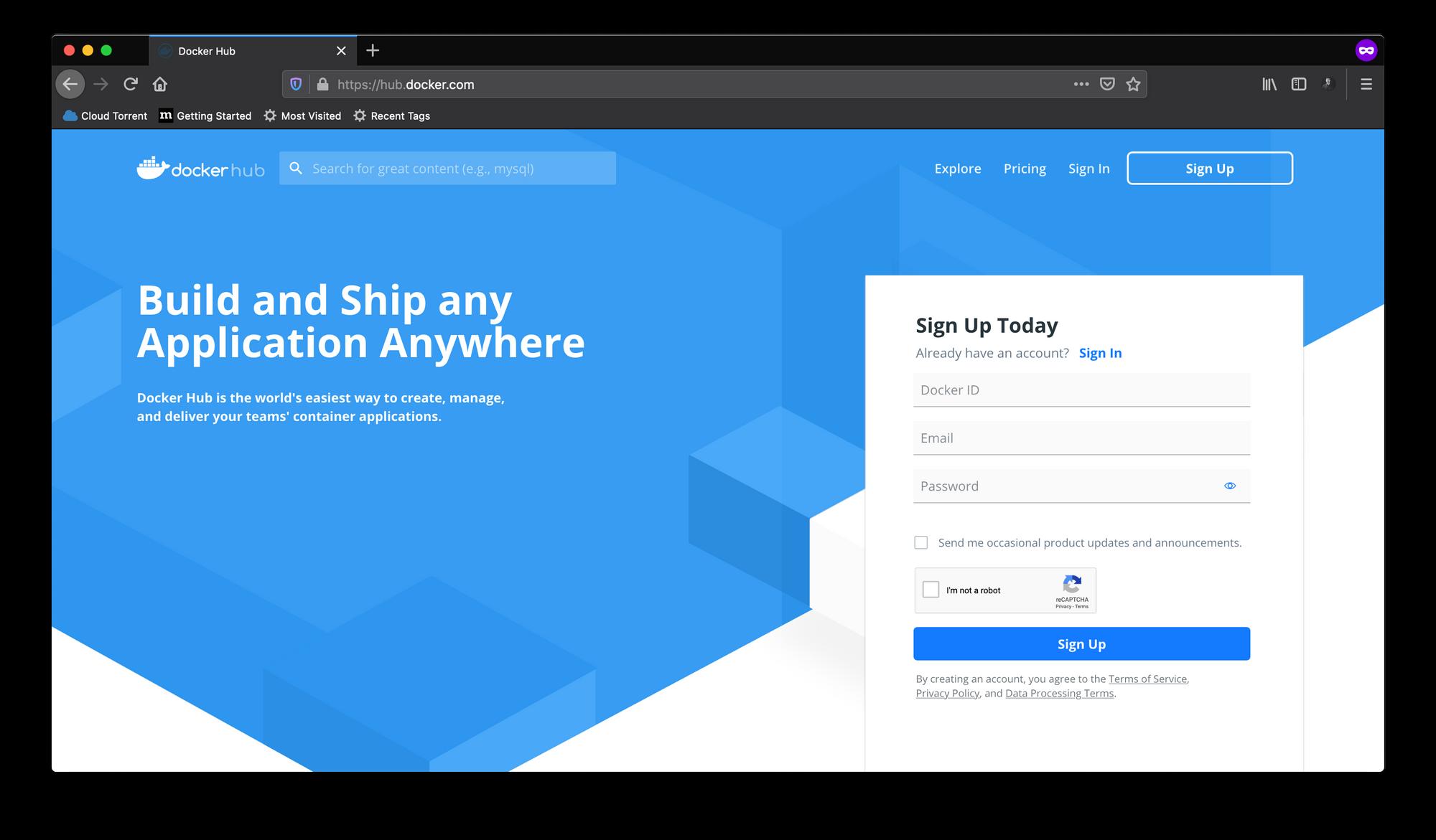 Docker Hubでサインアップ