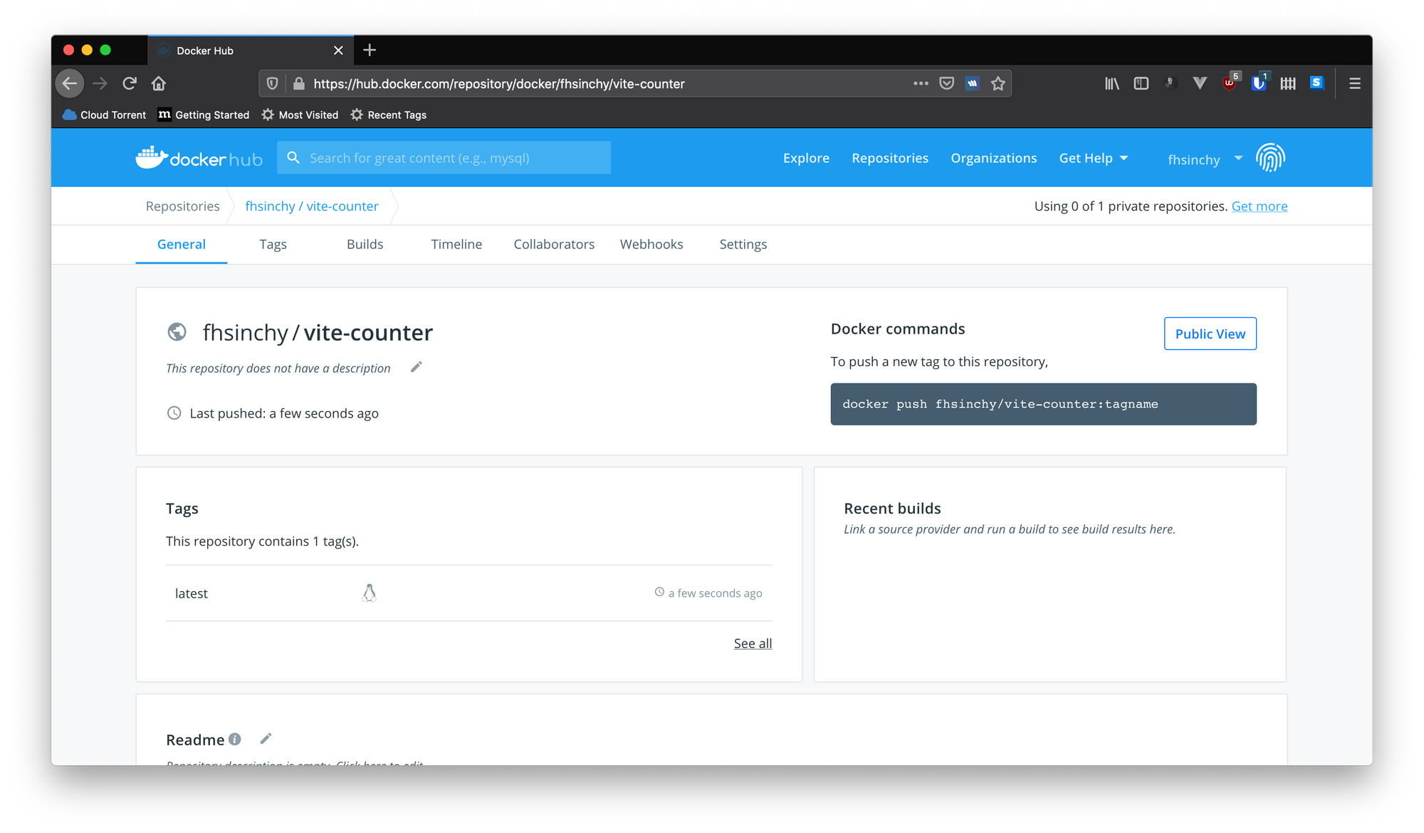 Docker Hubでのイメージの表示