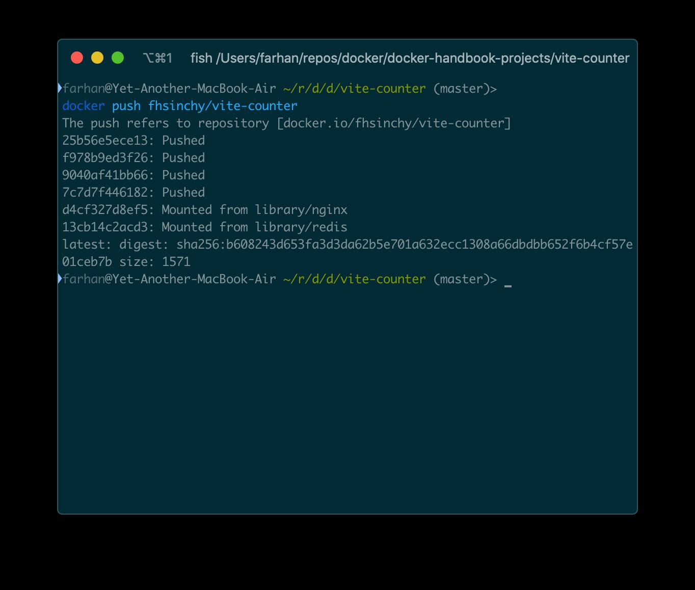 イメージがDocker Hubに正常にプッシュされました