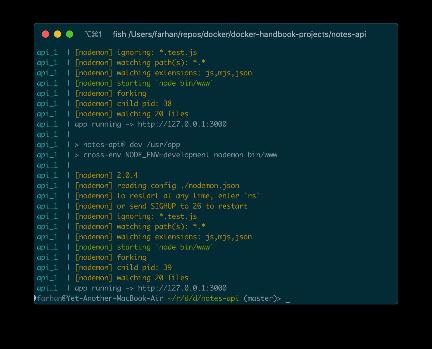 docker-compose logs api コマンドからの出力