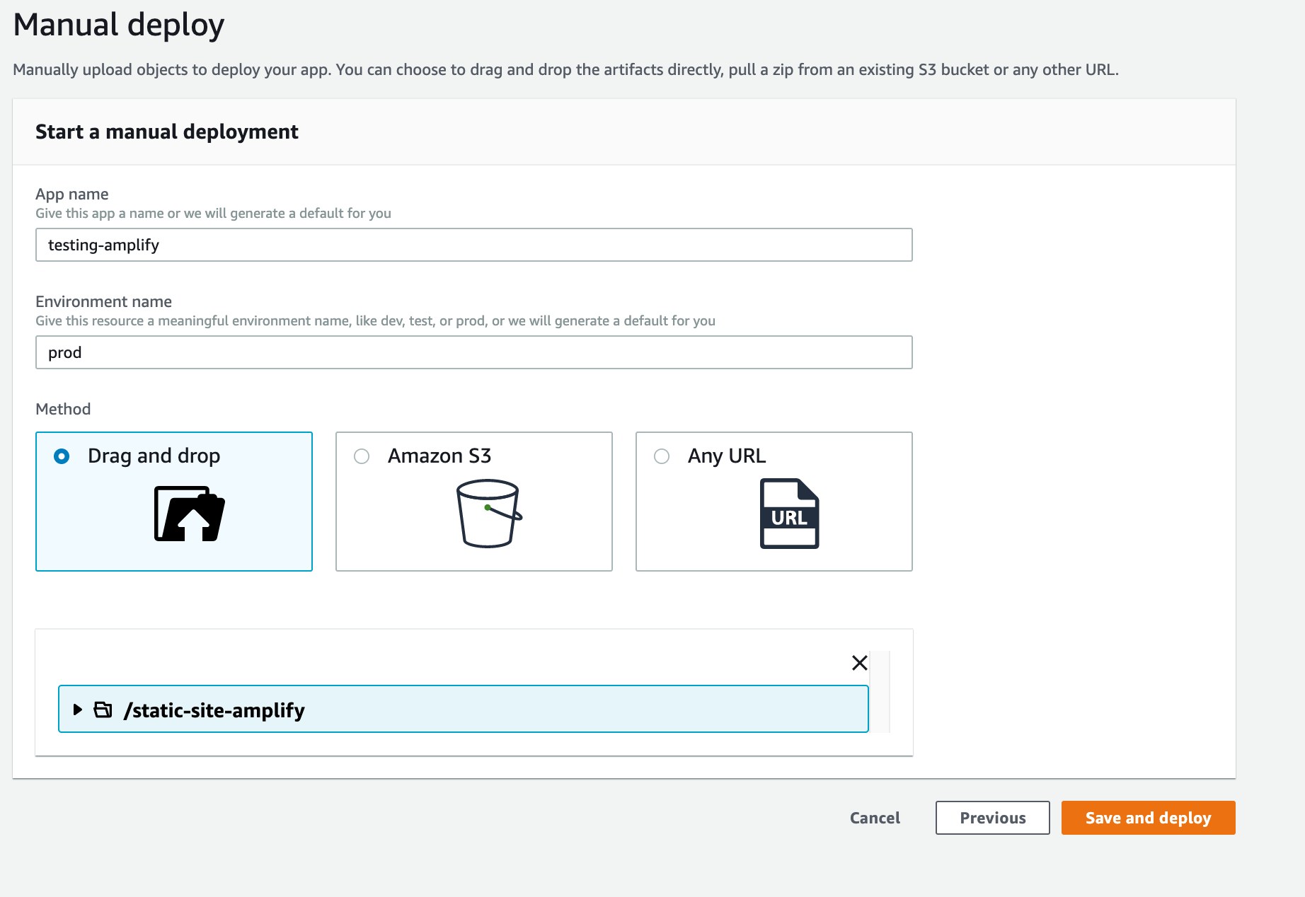 Starting a manual deployment in AWS Amplify