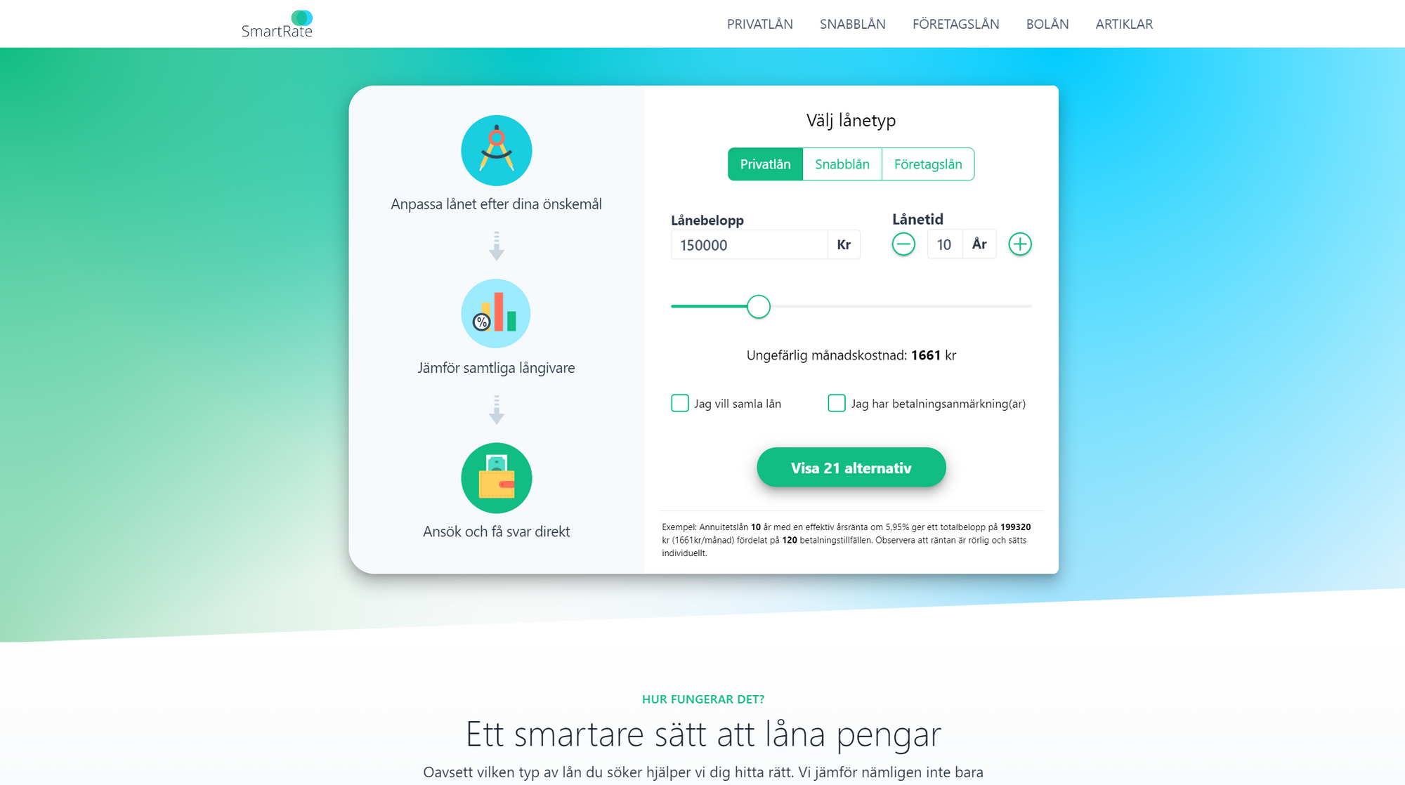A screenshot of the SmartRate landing page