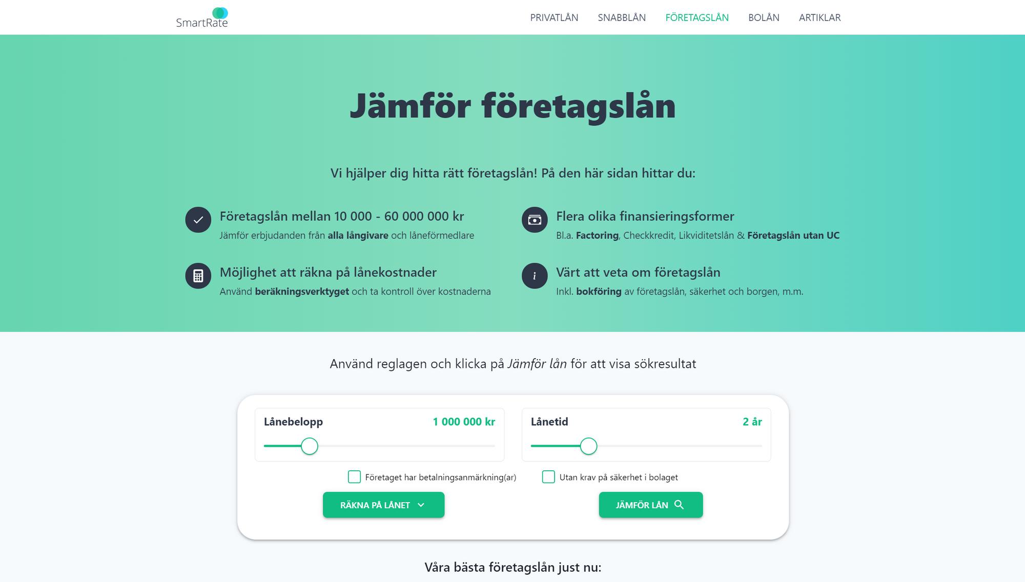 A screenshot of the SmartRate jämför företagslån subpage