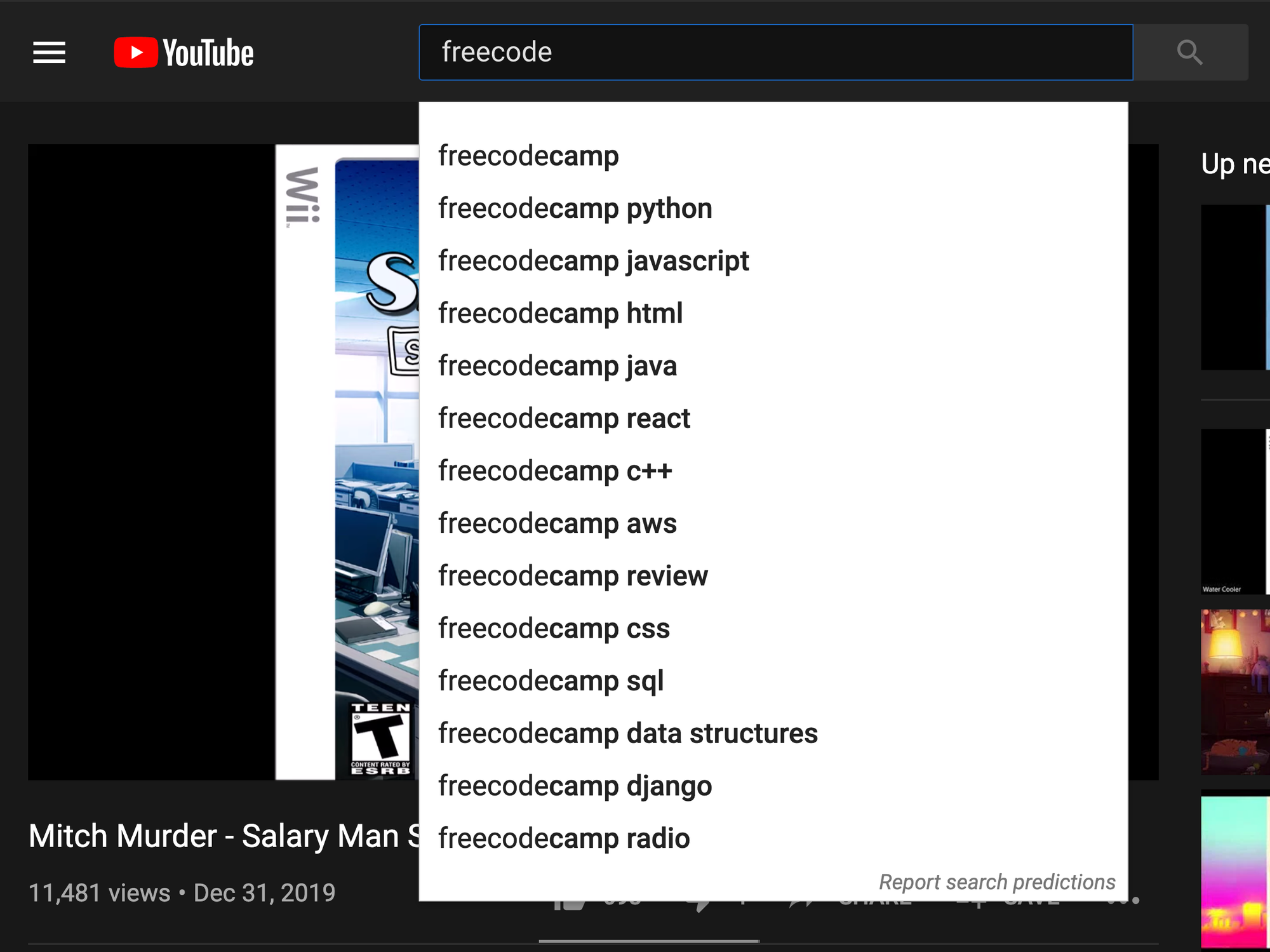 YouTube's search box, which you can access at any time with the / key.