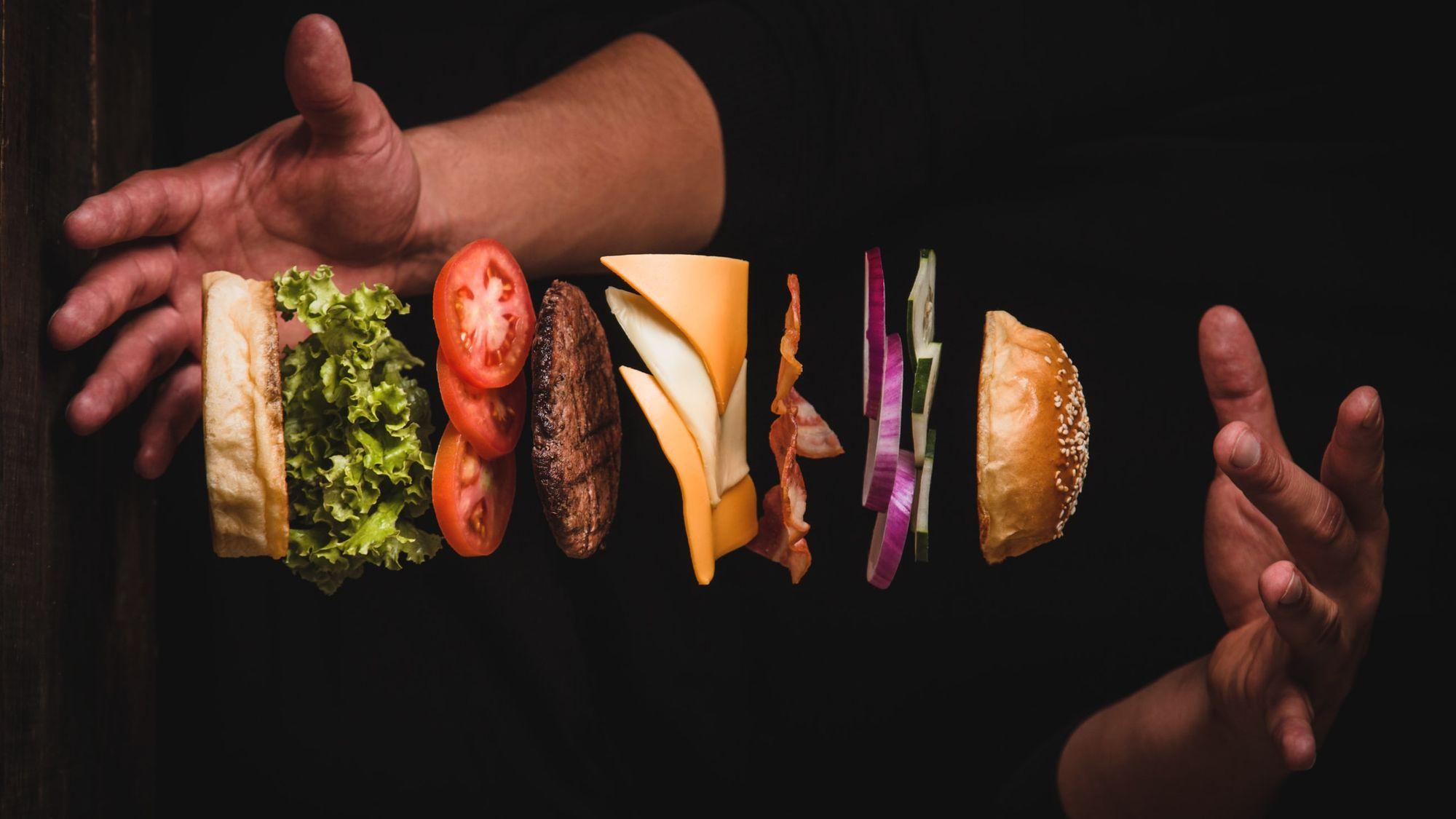 bundling a burger