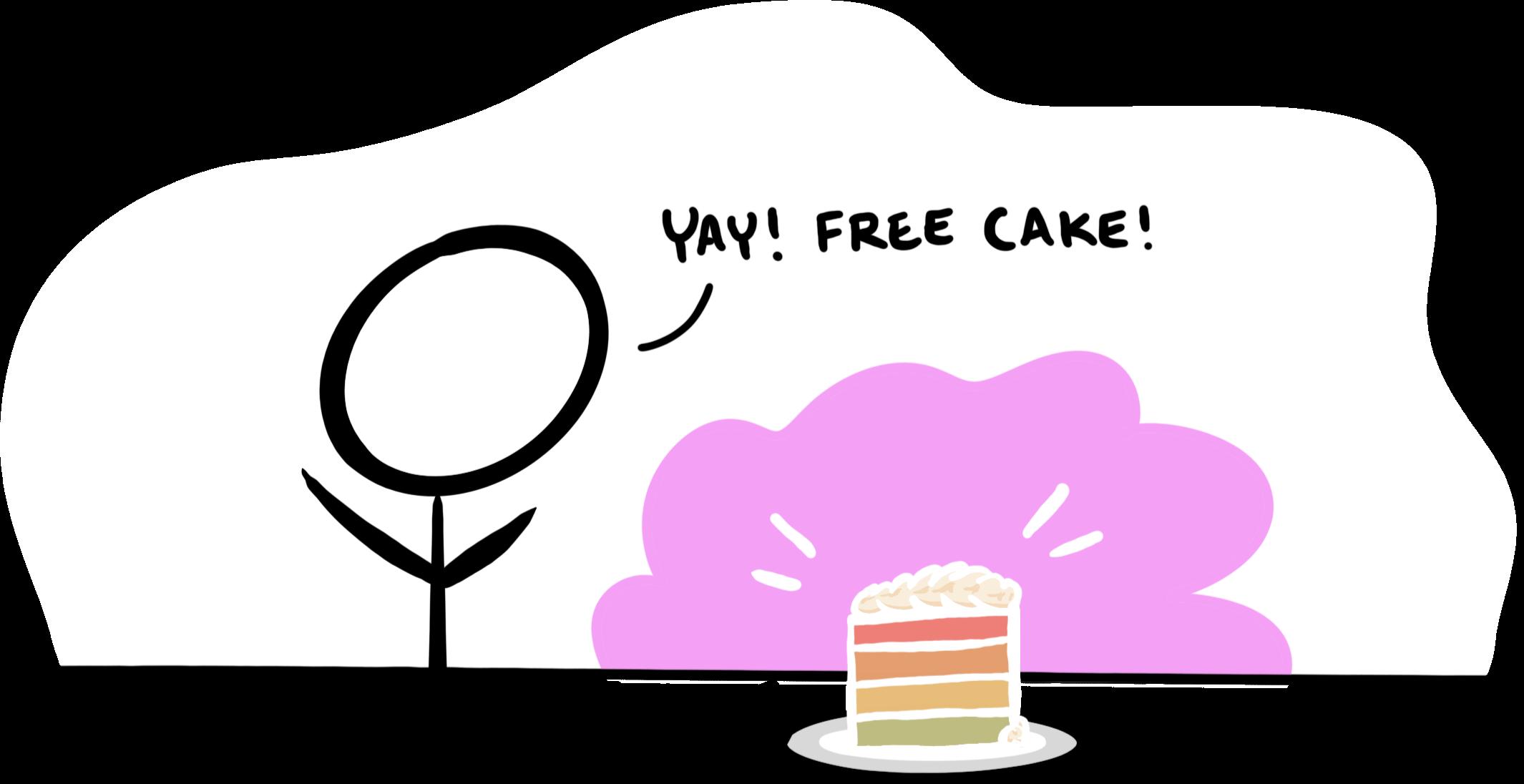 "Cartoon of a slice of rainbow layer cake, reads ""Yay! Free cake!"""