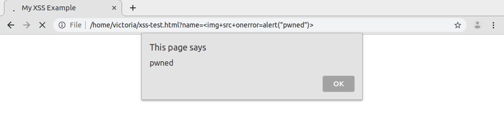 A screenshot of the XSS page example