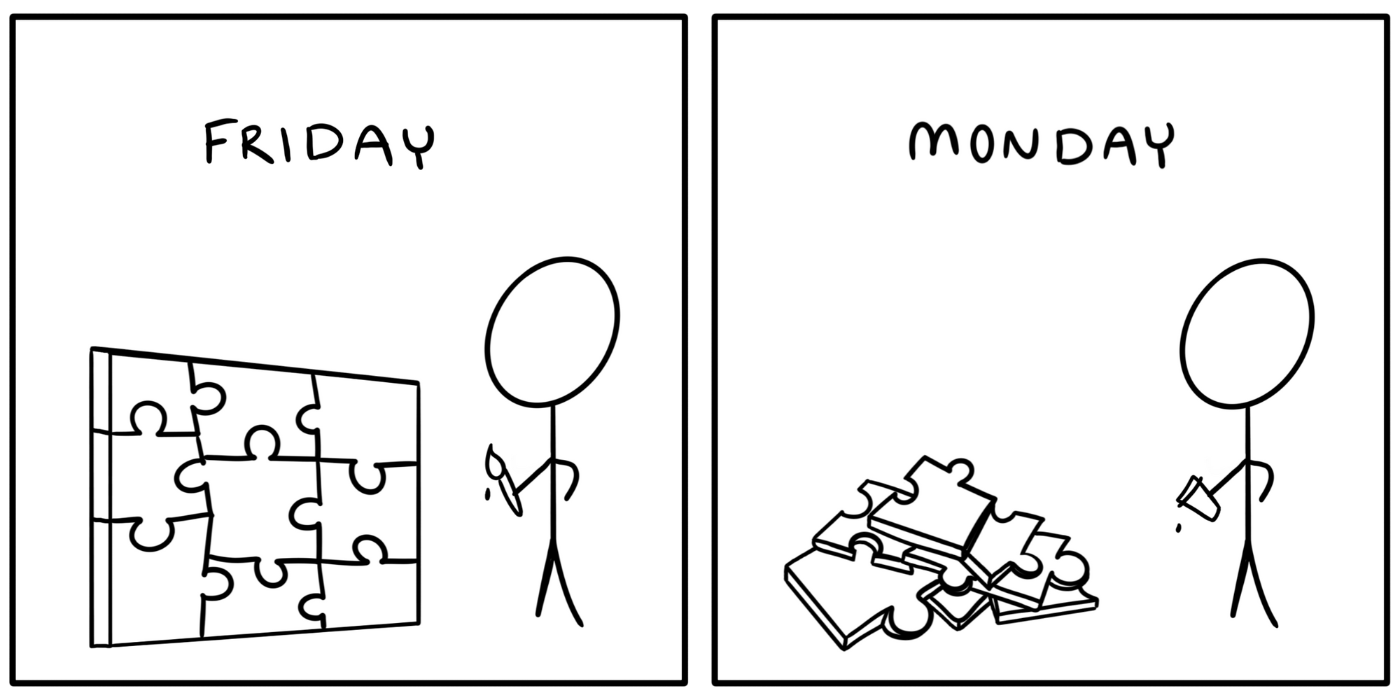 Your project on Friday (a finished puzzle) vs Monday (a pile of puzzle pieces) comic