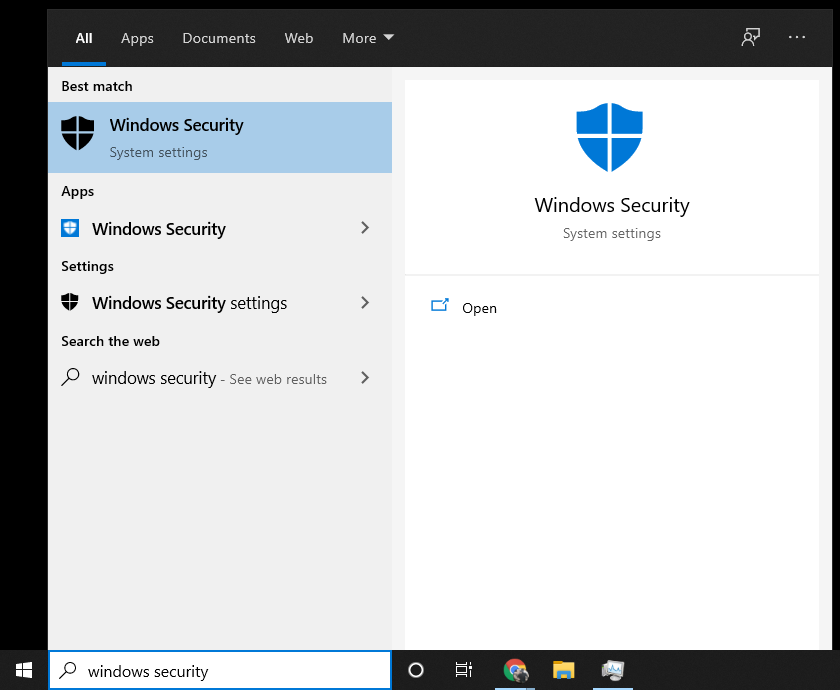 How to open the Windows Security app in the Windows Start Menu