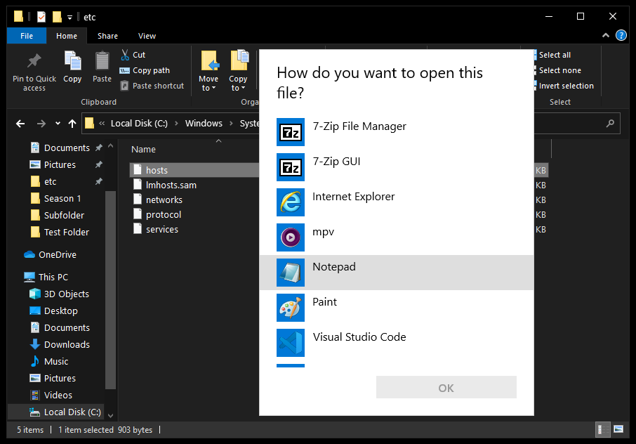 Screenshot showing how to open a hosts file with notepad