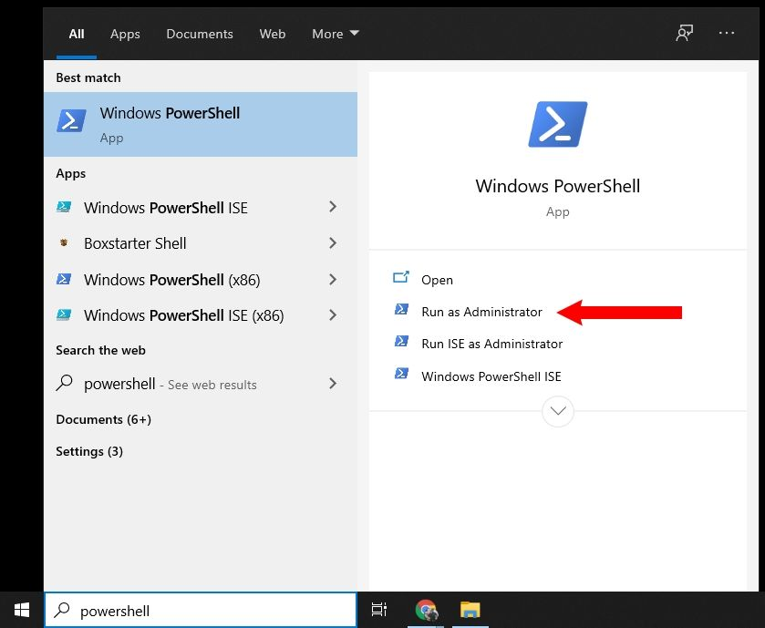 Screenshot showing how to open PowerShell as an administrator
