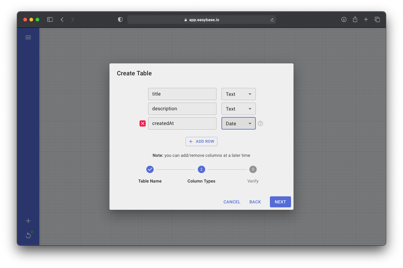 Easybase React create table