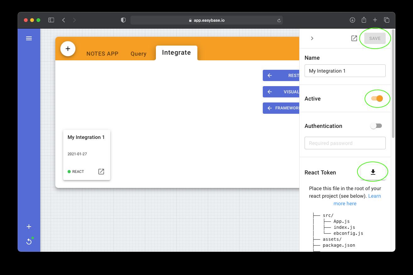 Easybase React integration edit 1