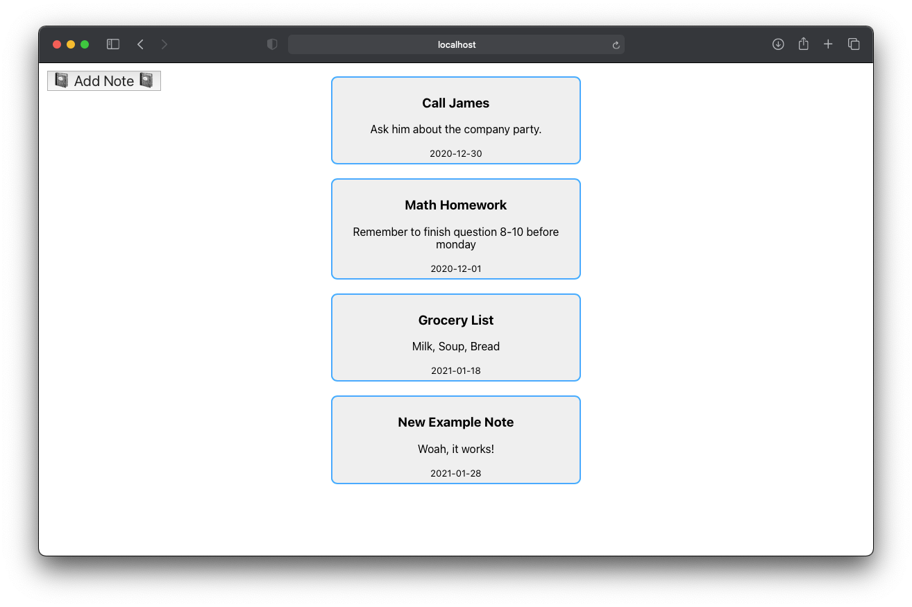 serverless React project with added note