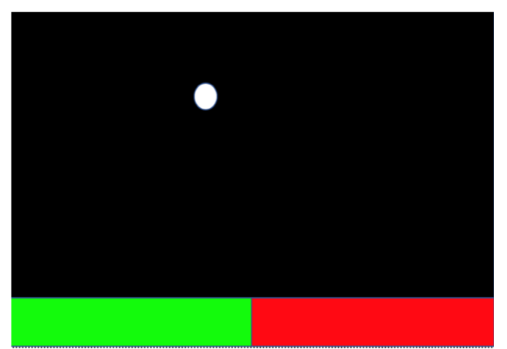 A very simple brain computer interface with a white ball dropping down to a red or green tile