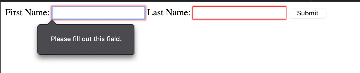 Client side form validation for required fields using HTML5 attributes