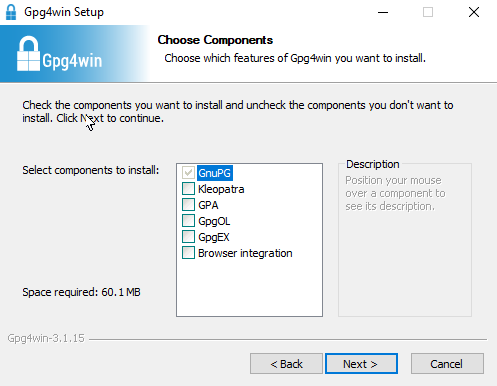 The Choose Components screen on Gpg4win Setup with all additional components unchecked.