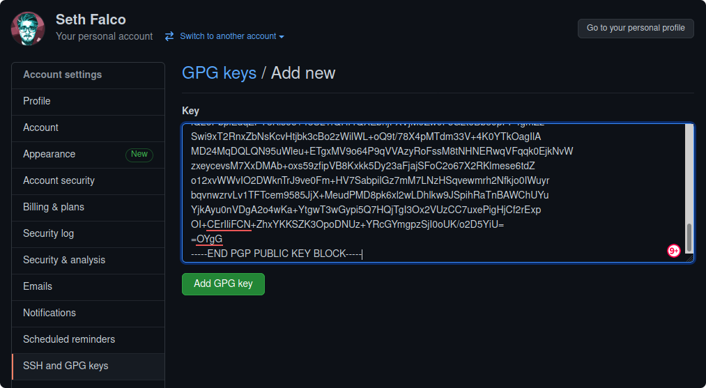 Adding a GPG key in the GitHub settings.