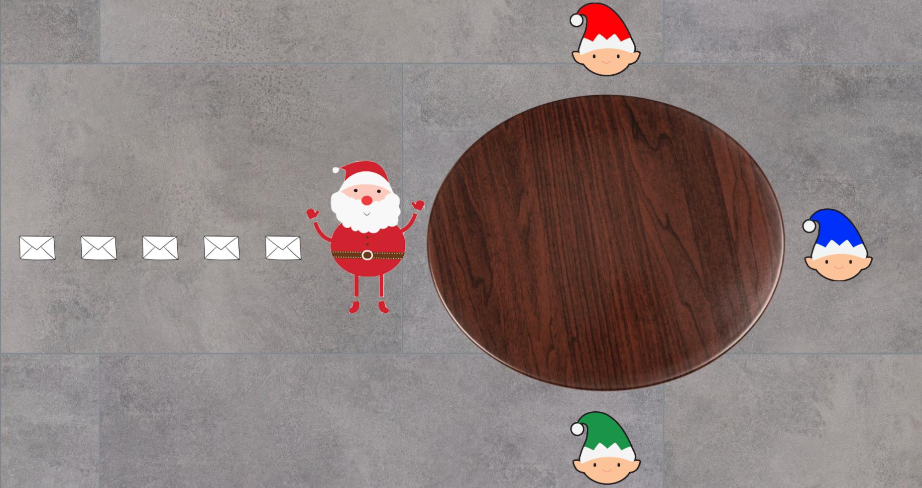 Santa reading letter for workshop