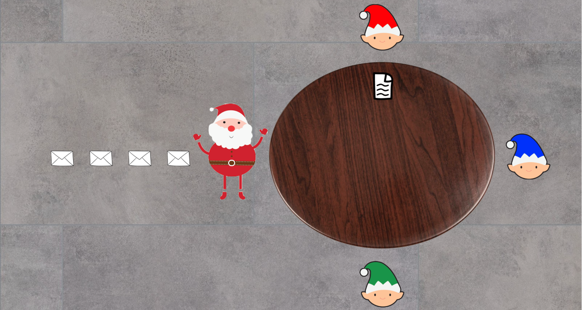 Santa passing instruction to Red