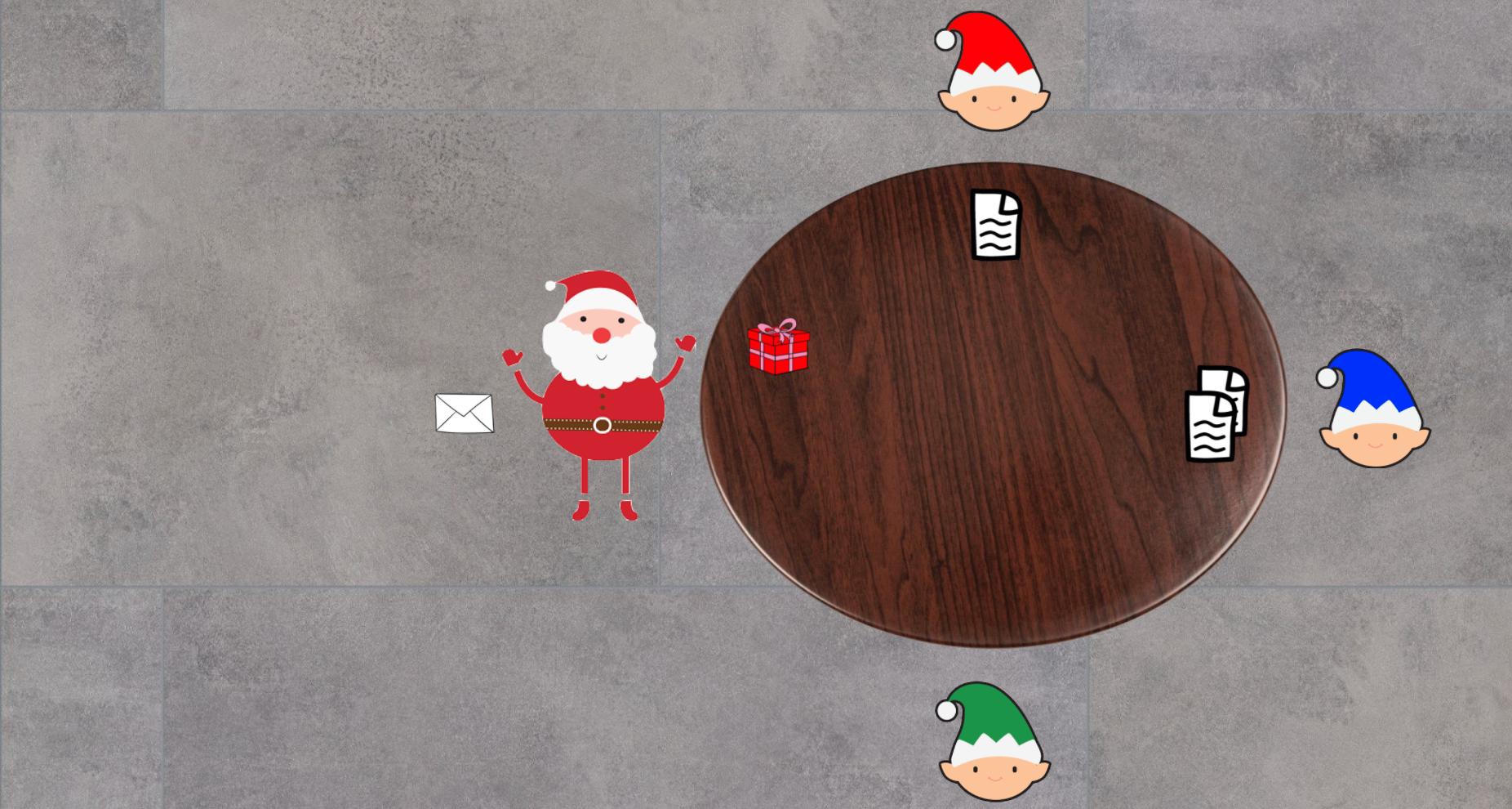 Santa receiving Red's present