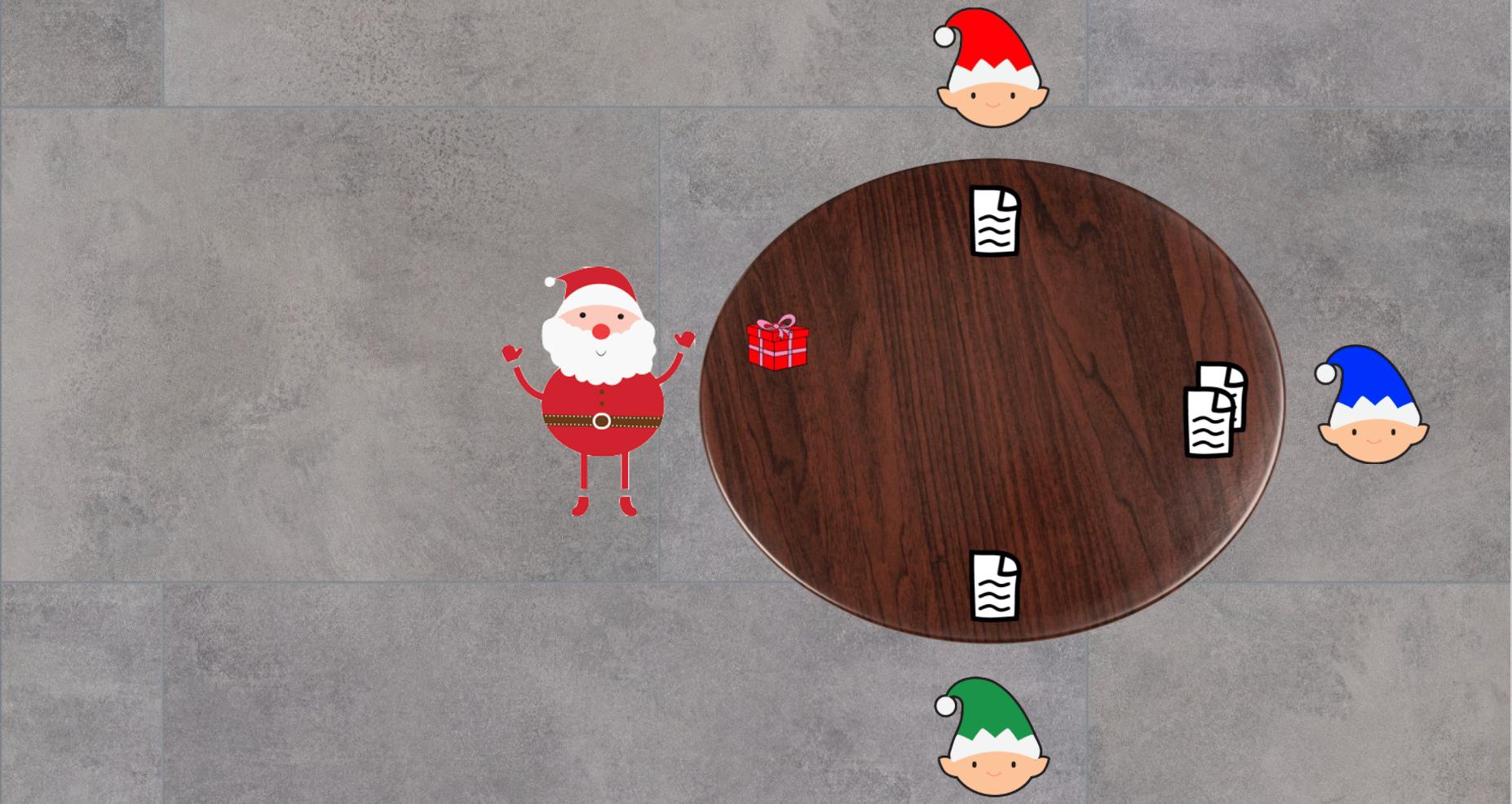 Santa passing instruction to Green