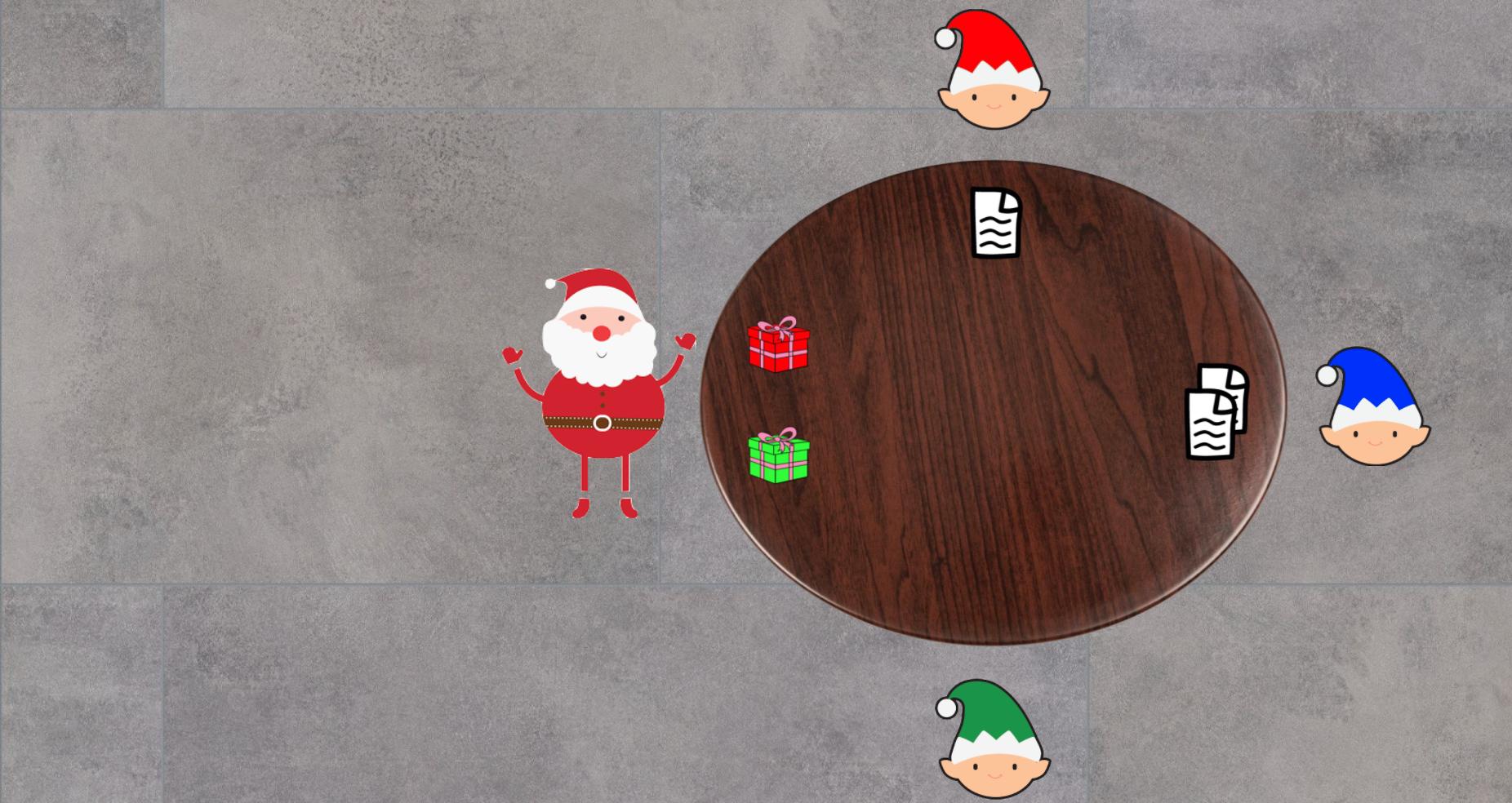 Santa receiving Green's present
