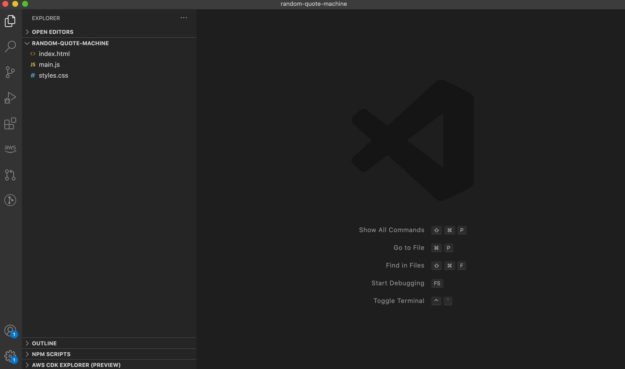 Visual Studio Code with three empty files