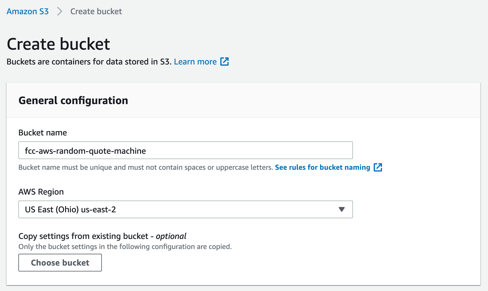 Input form for creating an S3 bucket