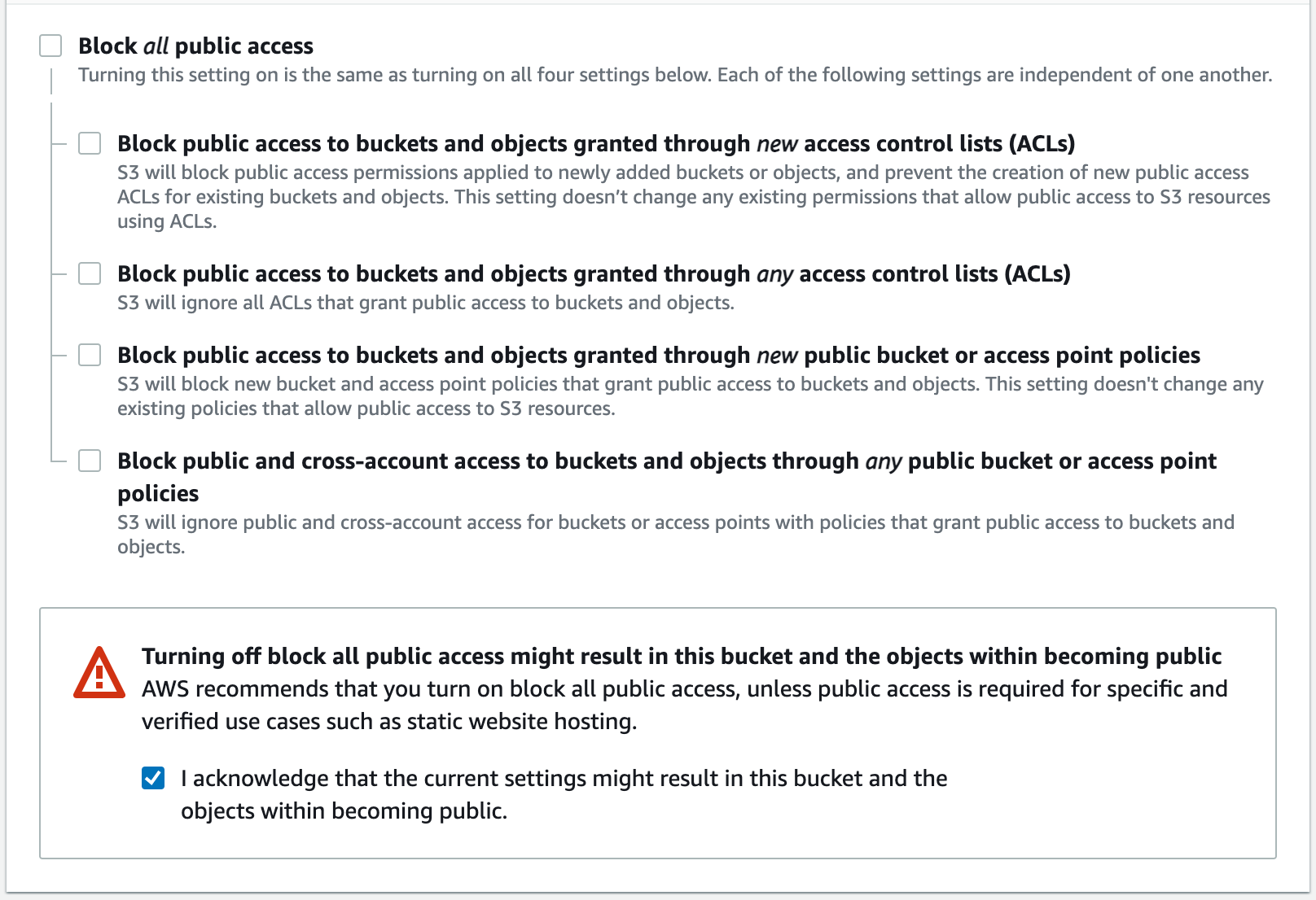Public access checkbox options during create S3 bucket process