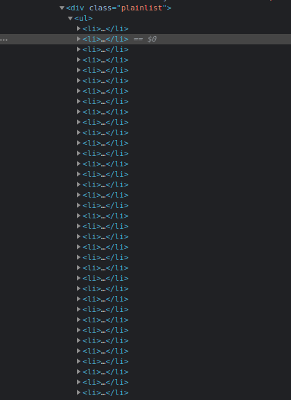 List in chrome devtools