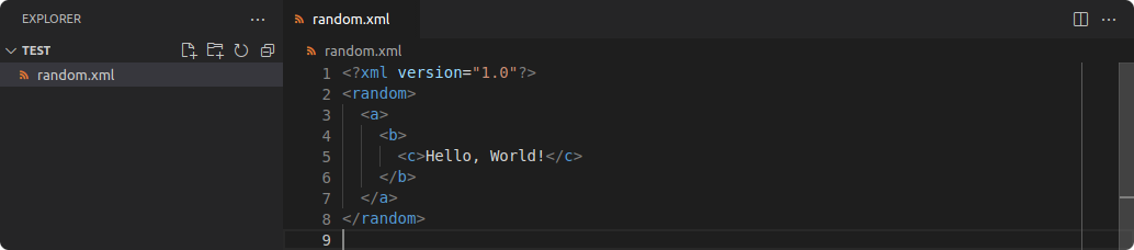 Instance of Visual Studio Code. There is an XML file on the left side which uses spaces as defined in the EditorConfig, but my default indentation size of 2.