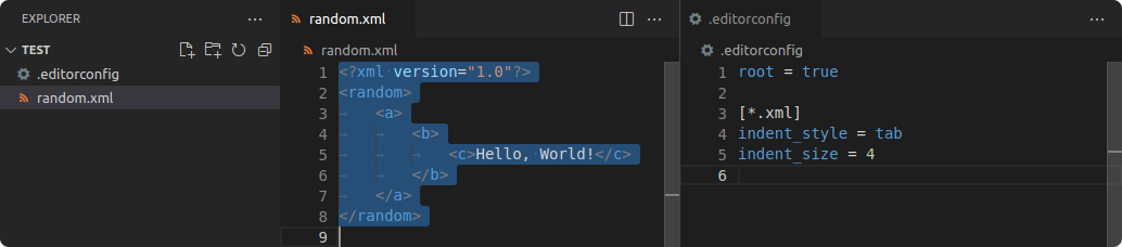 Instance of Visual Studio Code. The EditorConfig configuration includes an XML section that sets the indentation style to tab and size to 4. The XML file on the left is reformmated to reflect this change.