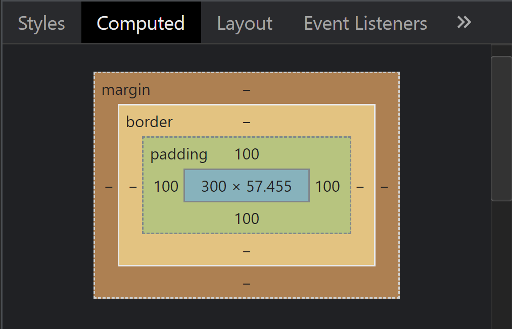 Dev console image of the box model and padding