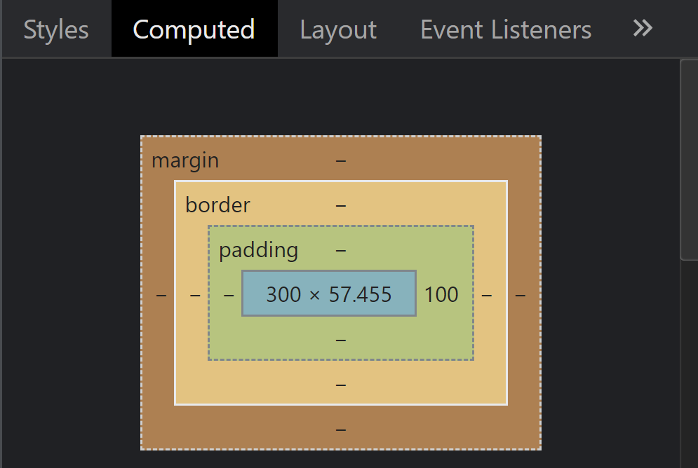 Dev console image showing padding-right