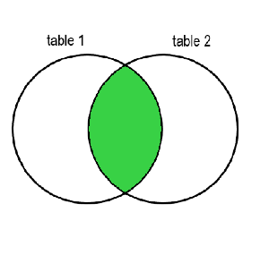 Two circles, one labelled table 1 and one labelled table 2, with a section in common. The section in common is colored in green.